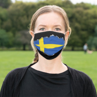Sweden Flag | Faux Torn Out Look Adult Cloth Adult Cloth Face Mask
