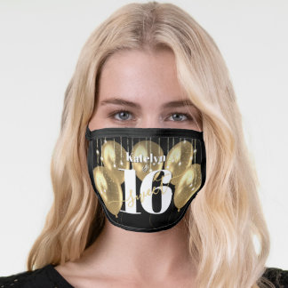 Sweet 16 Birthday Girly Glam Gold Balloons, Black Face Mask
