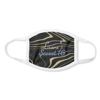 Sweet 16 Birthday Zebra Gold Foil Print Face Mask