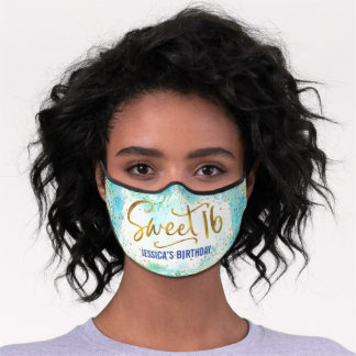 Sweet 16 Blue Watercolor Gold Glam Girly Birthday Premium Face Mask