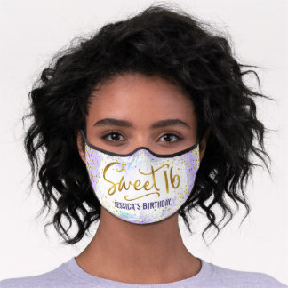 Sweet 16 Purple Watercolor Gold Girly Birthday Premium Face Mask