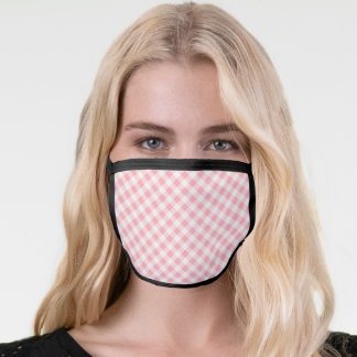 Sweet Girly Pink & White Gingham Check Pattern Face Mask
