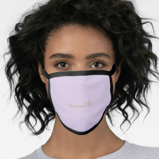 Sweet Lavender Purple Simply Personalized Name Face Mask