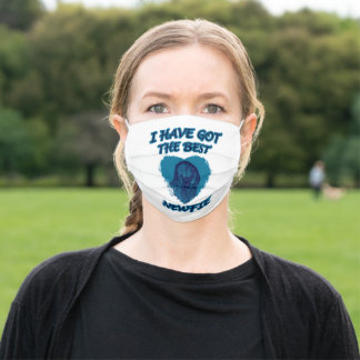 Sweet Newfoundland dog in blue Adult Cloth Face Mask