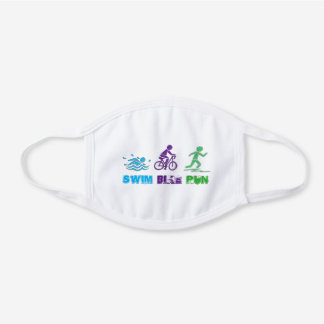 Swim Bike Run Triathlon Ironman Race Triathlete White Cotton Face Mask