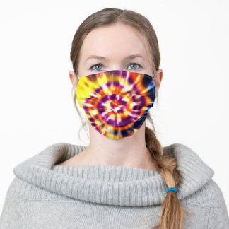 Swirls - hipster colorful tie-dye unisex 70s style adult cloth face mask