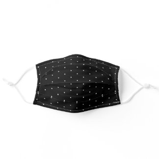 Swiss Dots White on Black Optional Name Initials Adult Cloth Face Mask