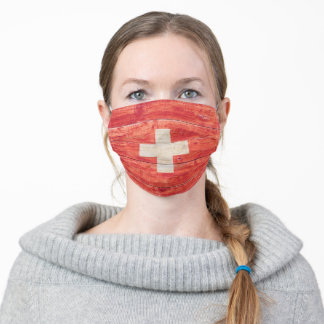 Swiss Flag on Wood Adult Cloth Face Mask