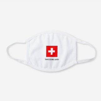 Switzerland (Swiss) Flag  White Cotton Face Mask