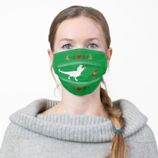 T-Rex Dinosaur Funny Elf Christmas Sweater Adult Cloth Face Mask