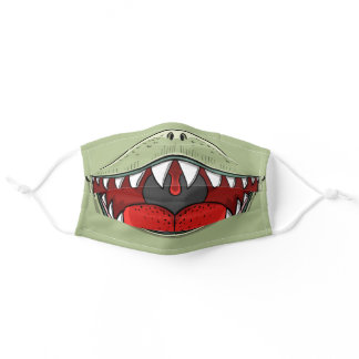 T-rex Dinosaur Mouth Kids Cartoon Olive Green Adult Cloth Face Mask
