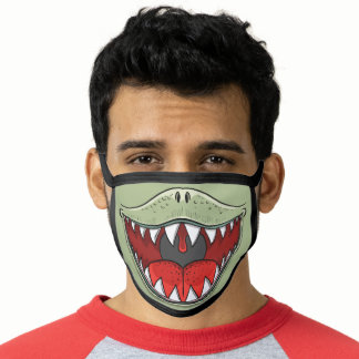 T-rex Dinosaur Mouth Kids Cartoon Olive Green Face Mask