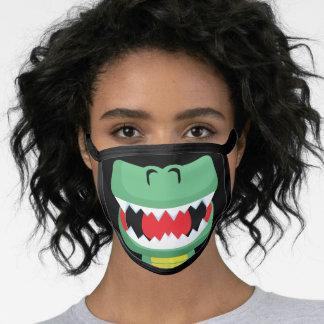 T-rex Dinosaur Mouth Kids Green Cotton Face Mask
