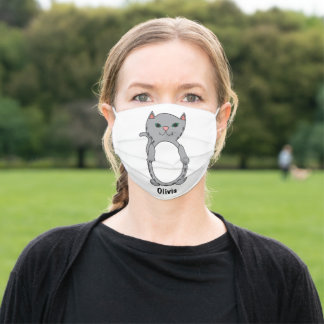 Tabby Cat Cute Gray Personalize Adult Cloth Face Mask