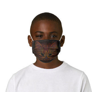 Tabby Cat Design Orange Copper Black Photo Art Kids' Cloth Face Mask