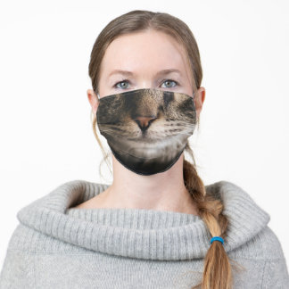 Tabby cat kitten funny whiskers mouth adult cloth face mask