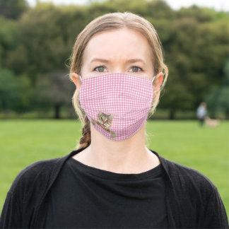 tabby cat on pink gingham adult cloth face mask