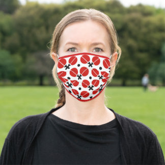 Table tennis rackets and ball pattern red border adult cloth face mask