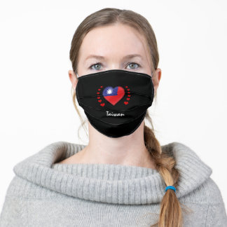 Taiwan & Heart - Taiwanese Flag /sports patriots Adult Cloth Face Mask