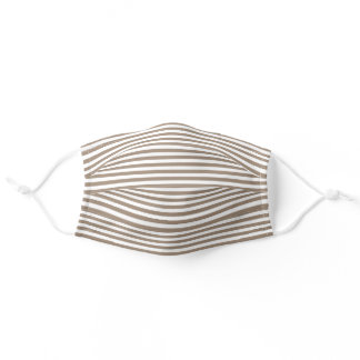 Tan and White Striped Pattern Cloth Face Mask