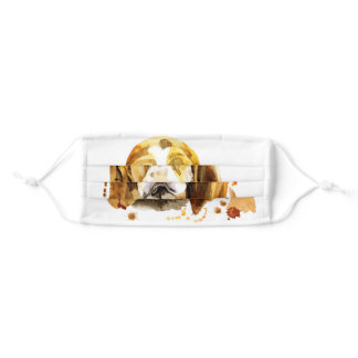 Tan White Cute Basset Hound Adult Cloth Face Mask