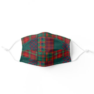 Tartan Quilting Squares Red Green Adult Cloth Face Mask
