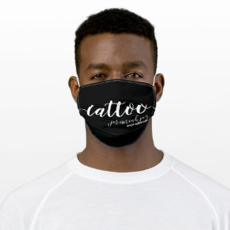tattoo script with name tag adult cloth face mask