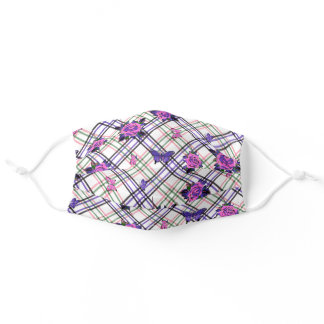 Tattoo Style Roses Skull Butterflies Plaid Purple Adult Cloth Face Mask