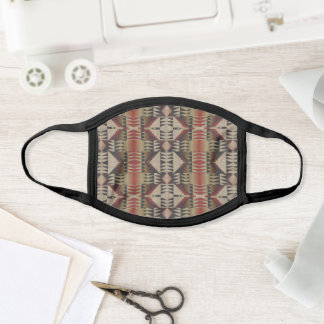 Taupe Brown Dark Winter Red Black Tribal Inspired Face Mask