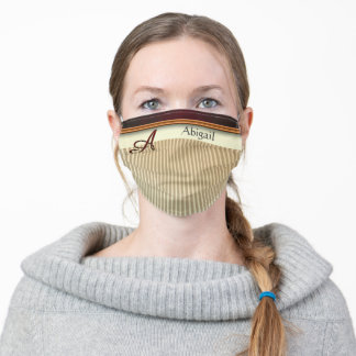 Taupe Cream Stripe Monogram Letter A Personalized Adult Cloth Face Mask