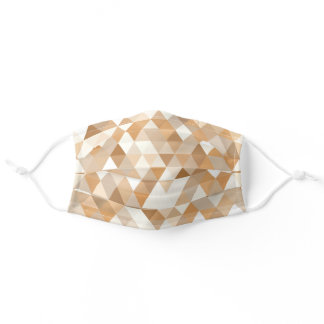 Taupe Light Tan Brown Beige White Polygon Art Adult Cloth Face Mask
