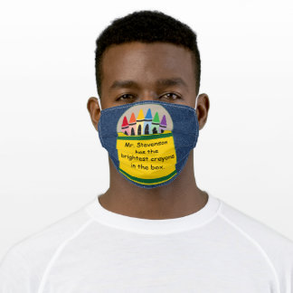 Teacher Name Brightest Crayons in the Box on Denim Adult Cloth Face Mask