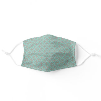 Teal And Grey Retro Pattern Adult Cloth Face Mask