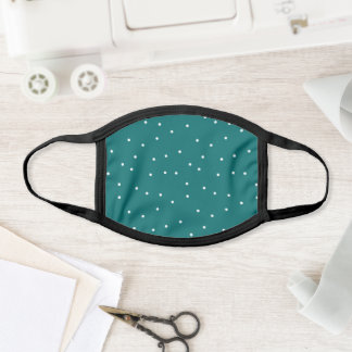 Teal and White Random Dot Confetti Pattern Face Mask