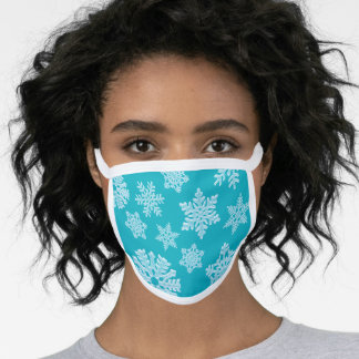 Teal Aqua Blue Frozen Winter Snowflakes Christmas Face Mask