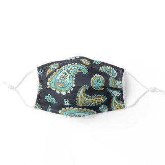 Teal Aqua Turquoise Gold Floral Paisley Pattern Adult Cloth Face Mask
