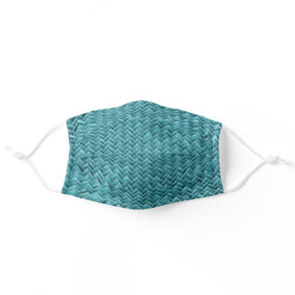 Teal Basketweave Geometric Graphic Pattern Adult Cloth Face Mask