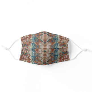 Teal Blue Fall Taupe Autumn Brown Tribal Inspired Adult Cloth Face Mask