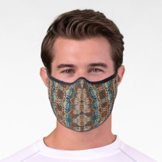 Teal Blue Fall Taupe Autumn Brown Tribal Inspired Premium Face Mask
