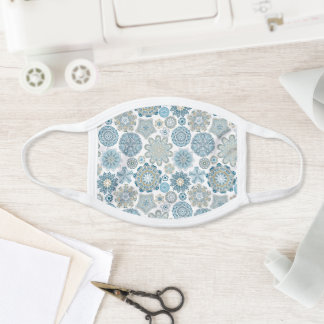 Teal Blue Faux Gold Mandala Snow Flakes Pattern Face Mask