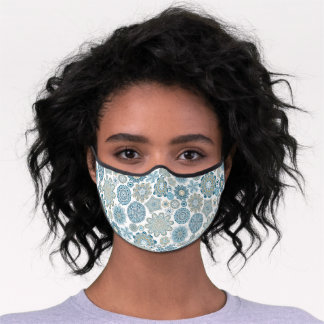 Teal Blue Faux Gold Mandala Snow Flakes Pattern Premium Face Mask
