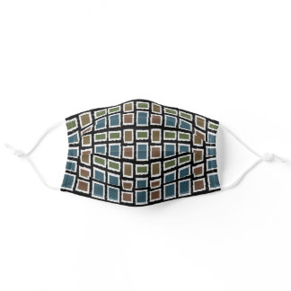 Teal Blue Green Black White Abstract Geometric Adult Cloth Face Mask