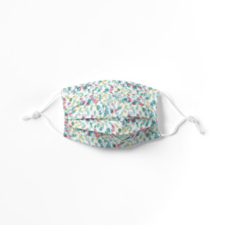 Teal Blue Green Pink Summer Polka Dots On White Kids' Cloth Face Mask