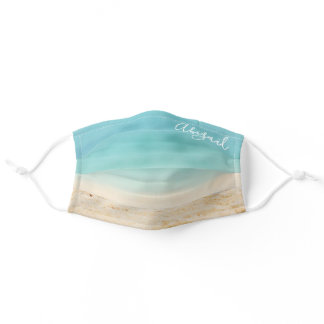 Teal Blue Ocean & Tropical Beach (Add Your Name) Adult Cloth Face Mask
