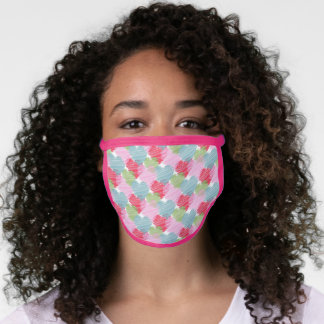 Teal Blue Pastel Pink Red Green Heart Art Pattern Face Mask