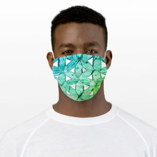 Teal blue scared geometry, flower of life adult cloth face mask