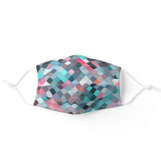 Teal Blue Turquoise Mauve Pink Mosaic Art Pattern Adult Cloth Face Mask