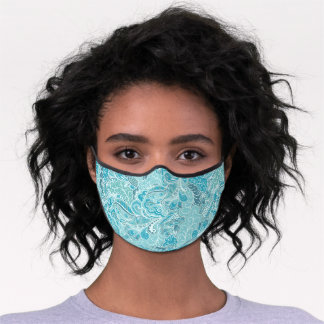Teal Blue White Elegant Paisley Pattern Womens Premium Face Mask