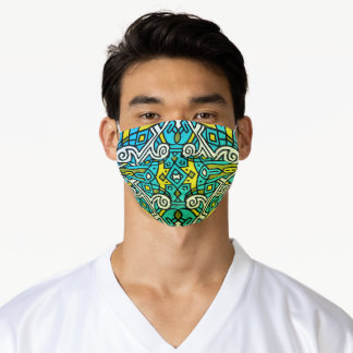 Teal Blue Yellow and Green Tribal Pattern Adult Cloth Face Mask