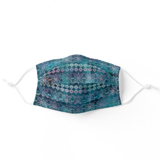 Teal Boho Iridescent Watercolor Pattern Adult Cloth Face Mask
